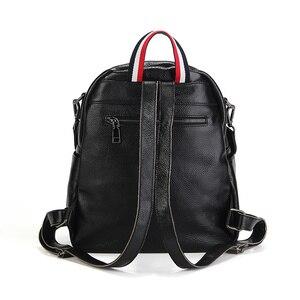 Image 3 - Nesituใหม่แฟชั่นสีดำสีฟ้าสีแดงของแท้หนังผู้หญิงกระเป๋าเป้สะพายหลังหญิงสาวกระเป๋าเป้สะพายหลังLady Travelกระเป๋า # M88039