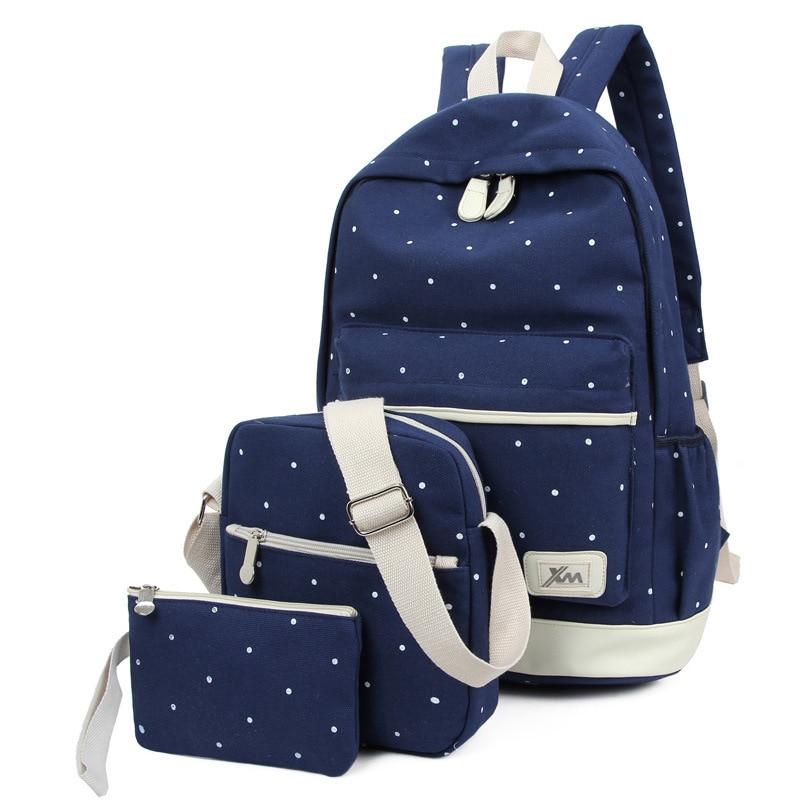 New Casual Women Backpack Canvas Korean School Bags Travel Backpacks for Teenage Girls Preppy Style Dots Men Bag Set
