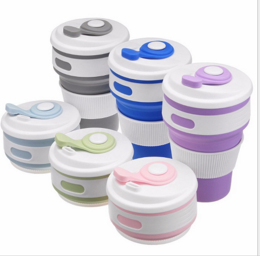 DHL 50pcs 350ml Folding Silicone Portable Silicone Telescopic Drinking Collapsible coffee cup multi function folding cup