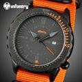 INFANTERÍA Hombres de Cuarzo Relojes Naranja Nylon Resistente Aeronautica Aviador Militar Relojes Hombre Relojes de Pulsera Relogio masculino