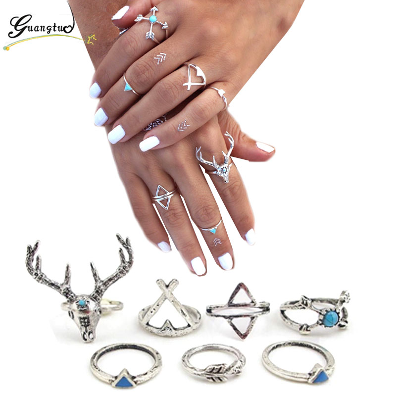 7pcs/Set Vintage Ethnic Bohemian Ring Animales Deer Anillos For Women Wedding & Engagement Jewelry Midi Finger Knuckle Rings