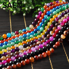 SAEN Natural Stone Beads Colorful Banded Agat Round Shape spacer beads For Jewelry Making DIY necklace wholesale jewelry lots