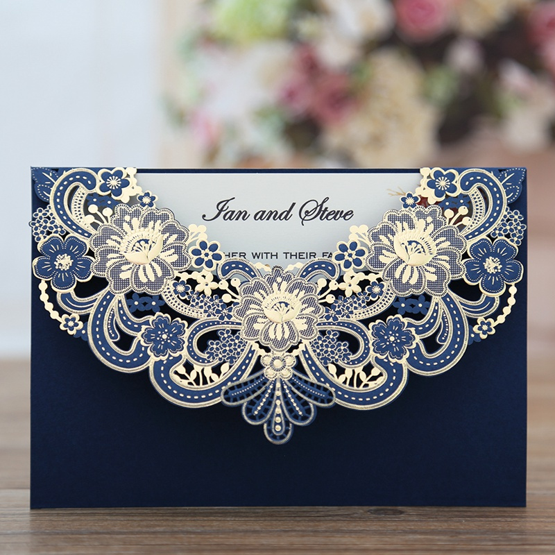 100pcs New Arrival Horizontal Laser Cut Invitation with Navy blue Hollow Flora Printable CW17001