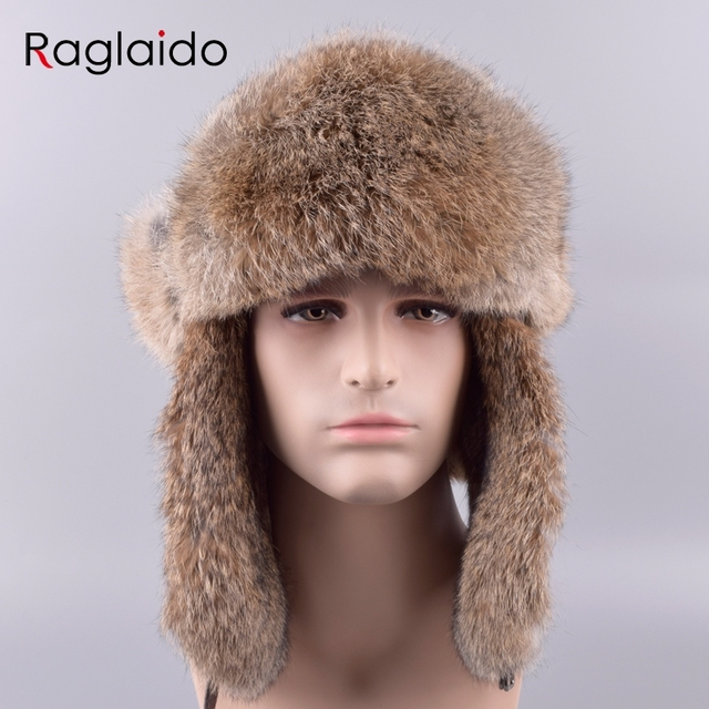02036f2689a Raglaido Ushanka Fur Hats Outdoor Winter Real Rabbit Fur Trapper Hats+ Genuine leather Adult snow