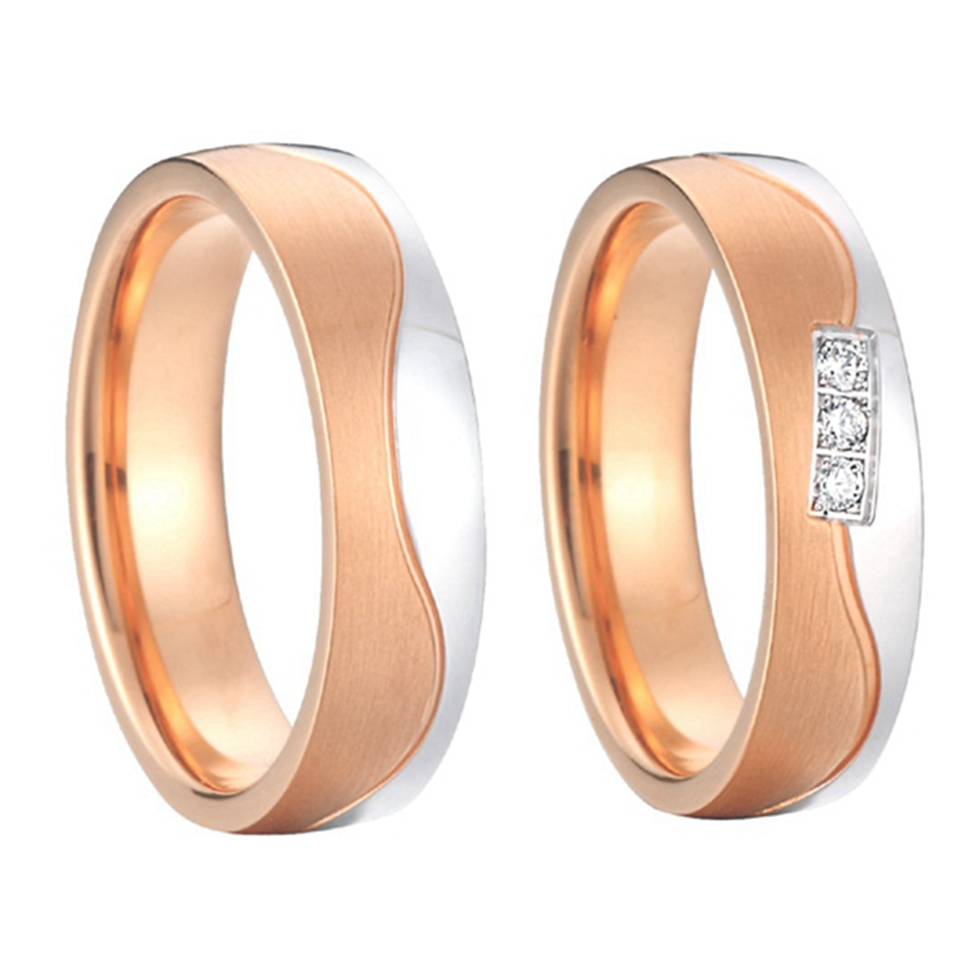 2015 new design beautiful private rose gold color alliances anel couples promise rings sets for wedding anniversary high quality anel masculino private new design engrave groove mens titanium rings for wedding