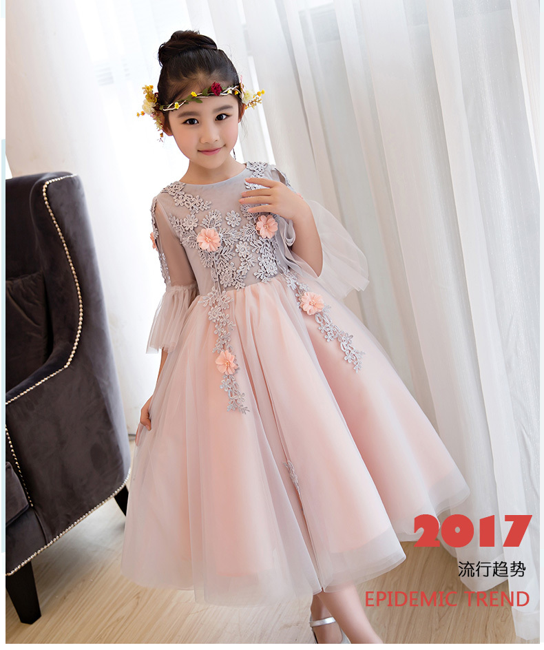 2018 New Appliques Lace Tulle Flower Girl Dress Ankle Length Princess Ball Gown Party Wedding Girls First Communion Dresses