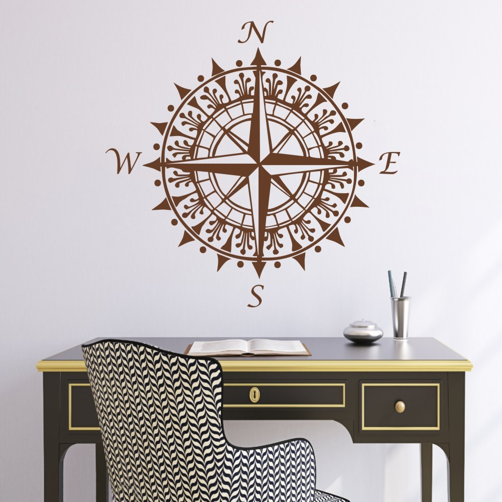 Removable wall art graphic - Nautical Compass Wall Decal Vinyl Wall Art Graphic Sticker Home Decoration Office Wall Decor Removable Mural
