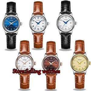 Image 1 - 26 ملليمتر parnis المرأة السيدات ووتش الساعات الميكانيكية التلقائي الياقوت جلدية المعصم ووتش للمرأة