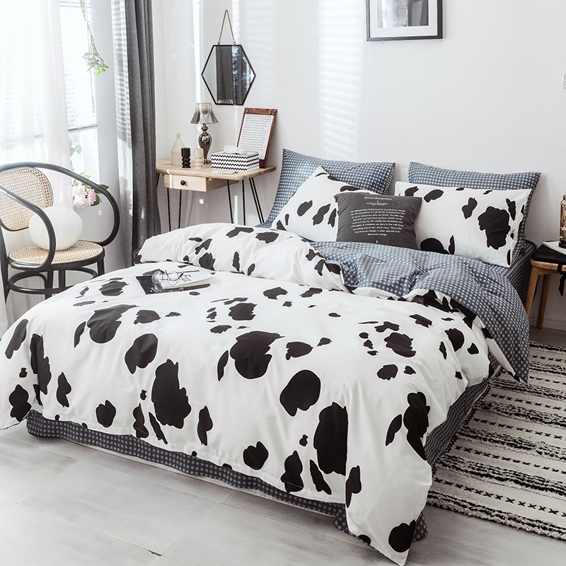 Milch Cow Bedding Sets 4 Pcs Flat Bedspread Duvet Case Pillowcases 3 4 Pcs Adult Children Use Bedlinen Full Twin King Queen