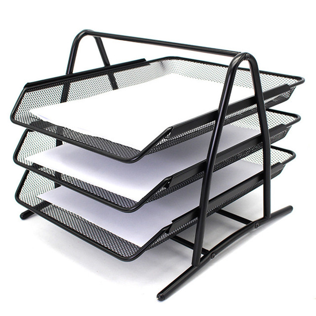 New Metal Doent Trays A4 Paper Office Mesh File Letter Tray Organiser Holder