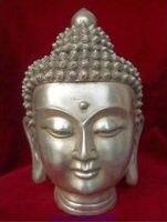Chinese Tibet Tibetan Buddhism White Copper Shakyamuni Buddha Head Bust Statue Figurine wholesale factory Arts outlets