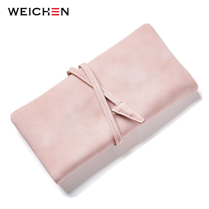 WEICHEN Women Drawstring Hasp Long Day Clutch Wallet Soft Faux Suede Leather Female Purse Ladies Card Coin Pocket Purse Carteras maihui ladies cowhide long genuine leather wallet women with coin pocket card holder wallet national hasp purse note compartment