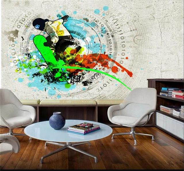 Custom photo 3d room wallpaper Non woven mural skateboarding extreme
