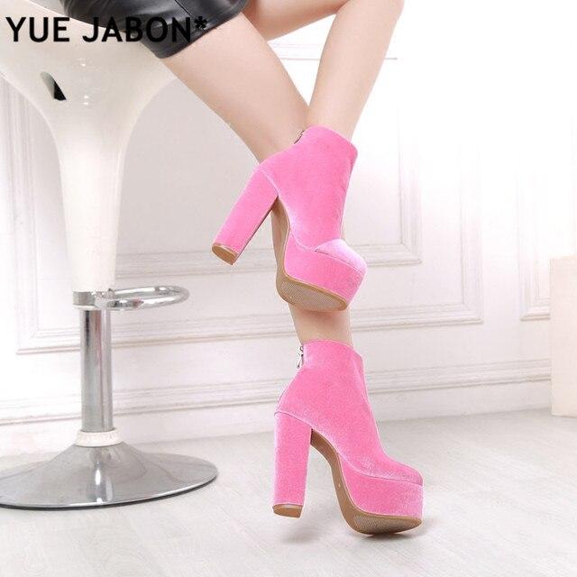6d71316a270 New woman velvet high platform chunky heel boots pink black green velvet  thick high heel platform