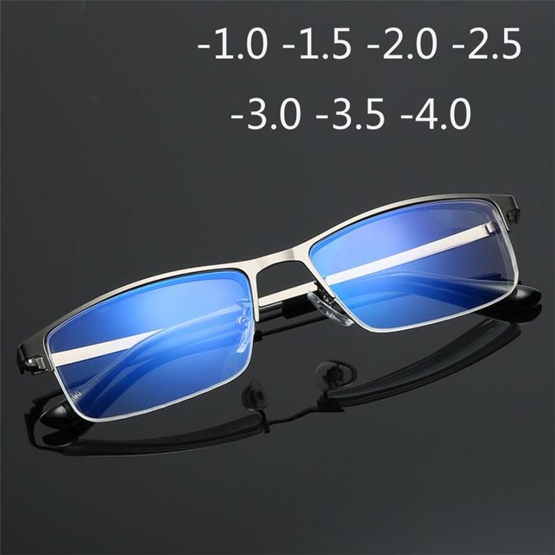 -1.0 -1.5 -2.0 -2.5 To -4.0 Half Frame Finished Myopia Glasses Men Fashion Anti-blue Light Short-sighted Eyewear High Quality