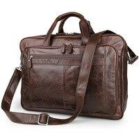 Tamaño grande de gran capacidad vintage Cuero auténtico mensajero Bolsas negocios Bolsas de viaje 15.6 ''laptop maletín cartera # m7320