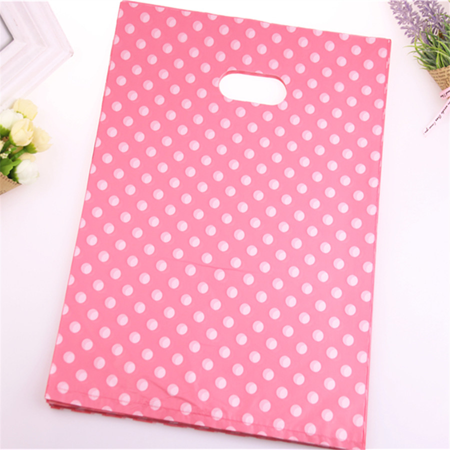 New Design Wholesale 100pcs/lot 25*35cm Dark Pink Plastic Shopping Bags With Small Dot Plastic Shopping Bags For Clothing