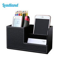 Kingfom Dark Red Crocodile Leather Multifunction Office Desktop Remote Control Holder Pen Holder Storage Box 1311