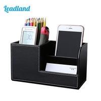 Kingfom Dark Red Crocodile Leather Multifunction Office Desktop Remote Control Holder Pen Holder Storage Box 1311