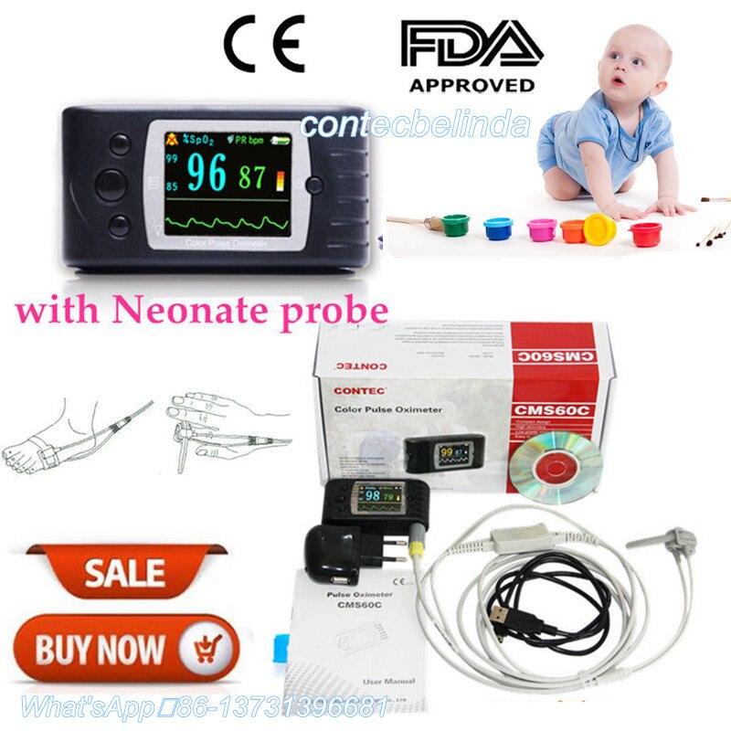 CONTEC CMS60C Puse OLED Ossimetro Monitor Neonatale Infantile Bambini Nato Ossimetro di Impulso della Spo2 Monitor di Sonno Registratore FDA del CE