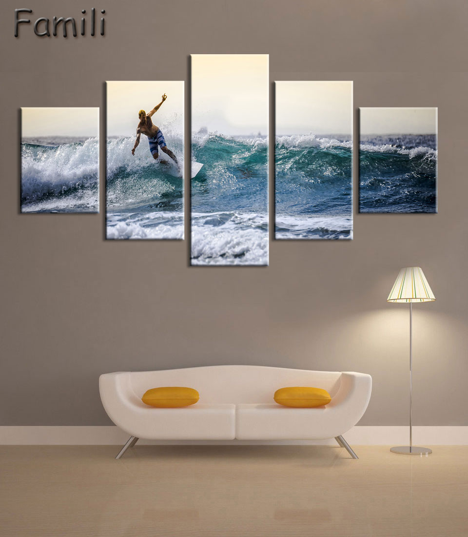 popular surf painting buy cheap surf painting lots from china surf 5pcs set wall art painting canvas painting surf at sea natural beauty painting modern picture