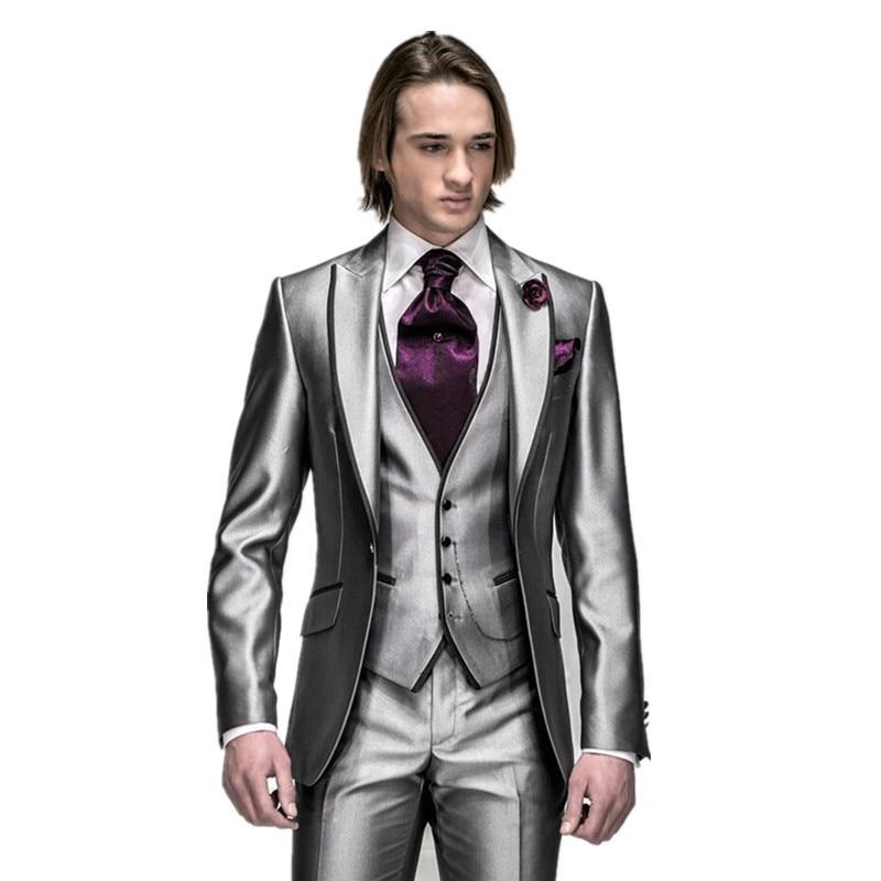custom made silver light grey Groom Tuxedos Best man Suit Wedding GroomsmanMen Suits Bridegroom (Jacket+Pants+Vest)