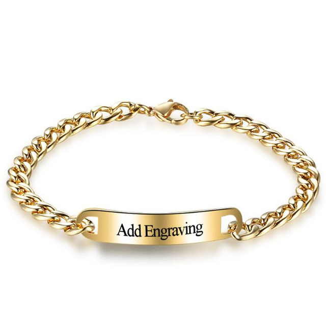 316l Custom Engraved Bar Bracelet Women Men Jewelry Link Chain Gold Color Thick Cuban