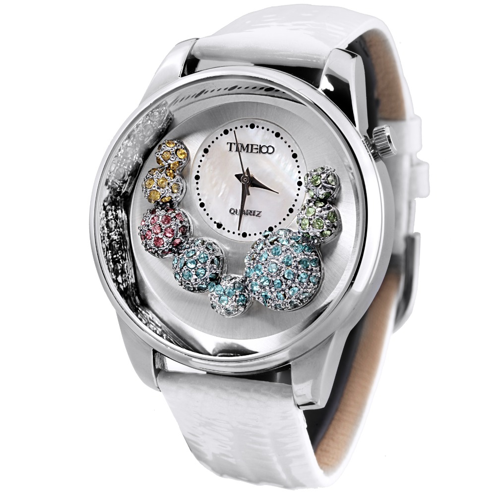 TIME100 Women Quartz Watches Analog Big Face Shell Dial Cystal White Leather Strap Unique Ladies  Watch mujer orologio da polso  pure white dial face ziz time watches navy