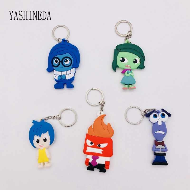 1PCS รูปการ์ตูน Inside Out 3D คู่ Key Chain แหวน PVC Anime Keychains Kids Toy Key Holder trinket ของขวัญ Party