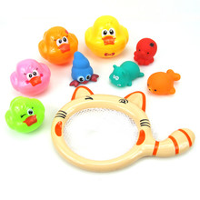 9 Pieces /Sets New Bathing Toys Animal Stacking Duck Funnel Squeeze Silicone Children Educational Puzzle Game Shower Toy цена и фото
