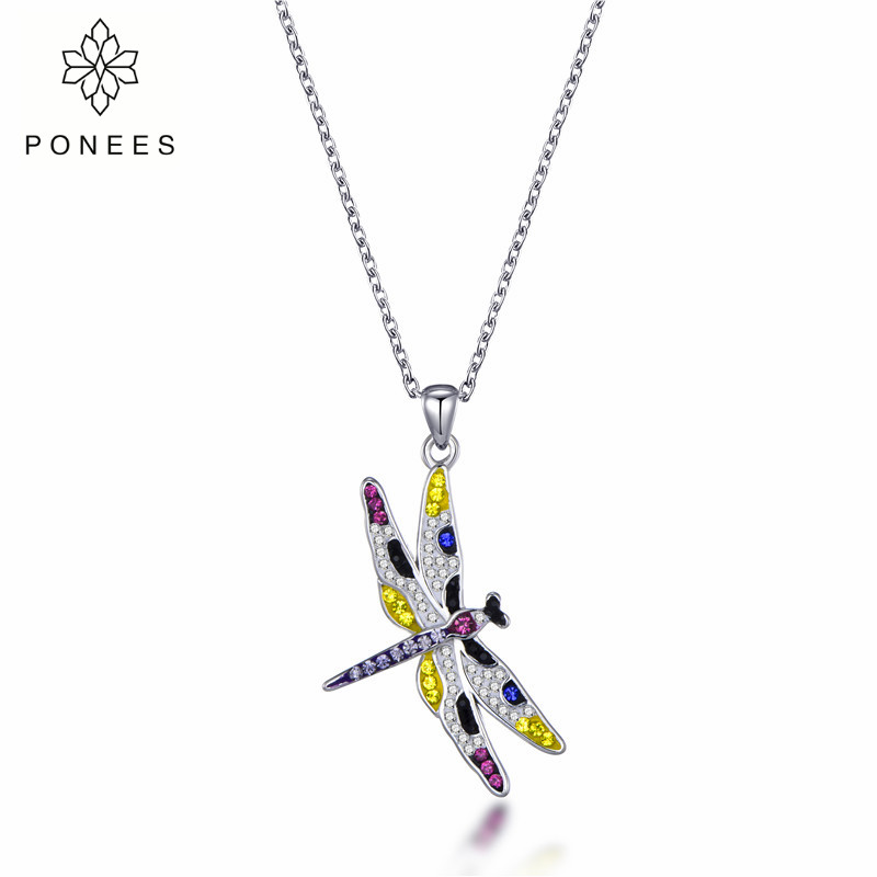 Gorgeous Crystal Dragonfly Necklace Pendant