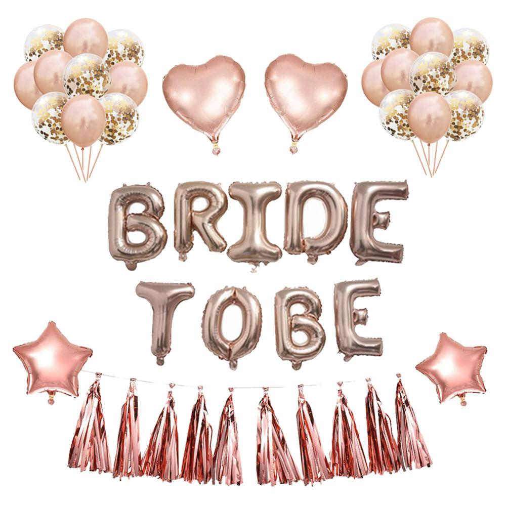 Rose Gold Balloons Just Married Banner For Hen Party Wedding Decoration Bridal Shower Photobooth Bachelorette Party Supplies