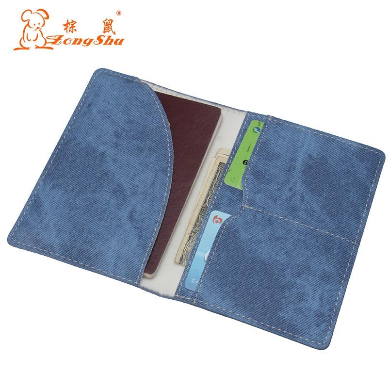 Zongshu Jean Design PU Passport Holder Cute Solid Pattern Travel Visiting Passport Protector Credit Card Case Pouch