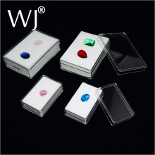 Wholesle 30pcs/lot 5.7cm x 3.7cm Diamond Display Box Plastic Diamond Case Stone Storage Box Gem Packaging Box Black and White
