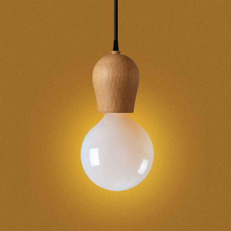 Creative Wooden Pendant Light Suite Wood Lamp Holder Lights Include Bulb