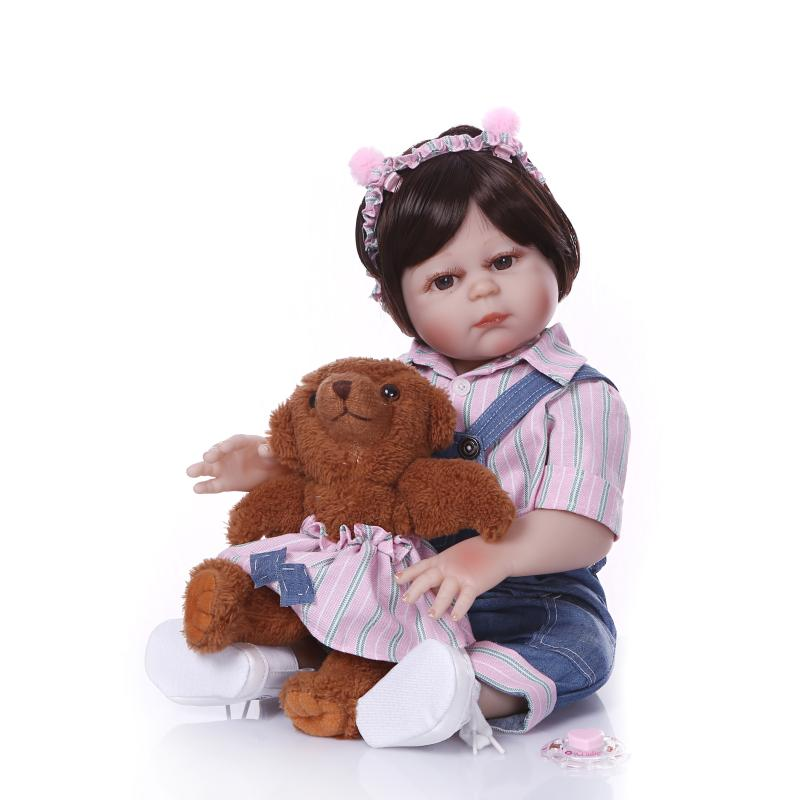Boneca reborn silicone completa menina 2050cm Full vinyl silicone reborn baby girl dolls toys for children gift with bearBoneca reborn silicone completa menina 2050cm Full vinyl silicone reborn baby girl dolls toys for children gift with bear