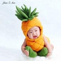 Jane Z Ann Baby pineapple costume infant toddler photography props boys girls plushoutfits 3pcs fruit clothing hat+sock+bodysuit