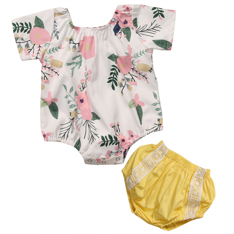 New Fashion Toddler Infant Baby Girl Clothes Romper Floral Jumpsuit Tops+Pants Shorts 2pcs Outfits Clothes