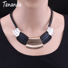 Tenande New Fashion Black Rope Chain Big Statement Alloy Geometric Patterns Necklaces & Pendants for
