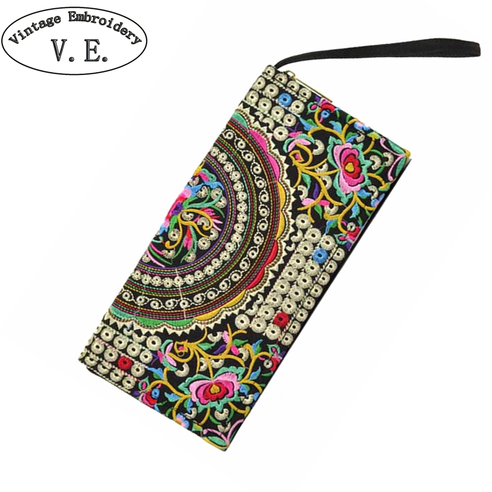 Women Wallets Coins-Bag Embroidery Long-Purse Vintage Flowers Small-Day Handmade Beach