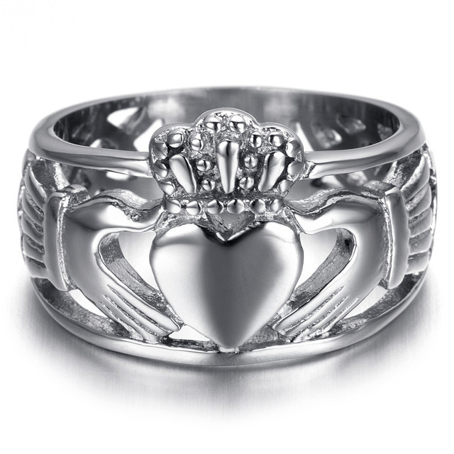 Us 8 99 Silver Irish Claddagh Friendship Love Ring Heart Crown Women Wedding Rings Piercing Female Jewelry Bijoux Rs088w In Rings From Jewelry