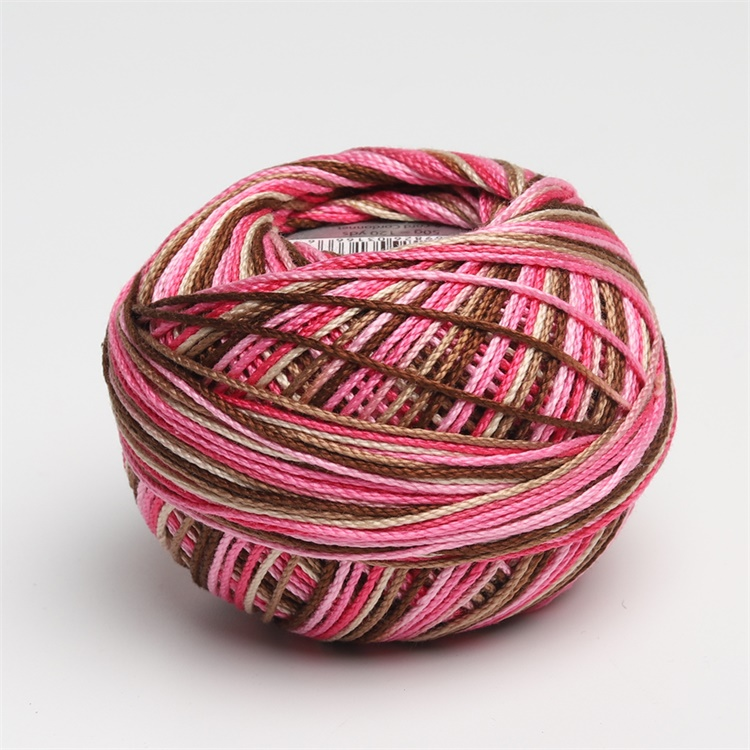 Размер 3 хлопок жемчуг пестрый 50 грамм мяч египетская длинноштапельная хлопковая пряжа газированная двойная мерсеризованная 6 нитей плетение - Цвет: 166