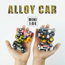 Mini Alloy Cars Tractor Excavator Toy Diecast Metal Alloy Model Toy Car 1:64 Metal Vehicle Police Christmas gift Black
