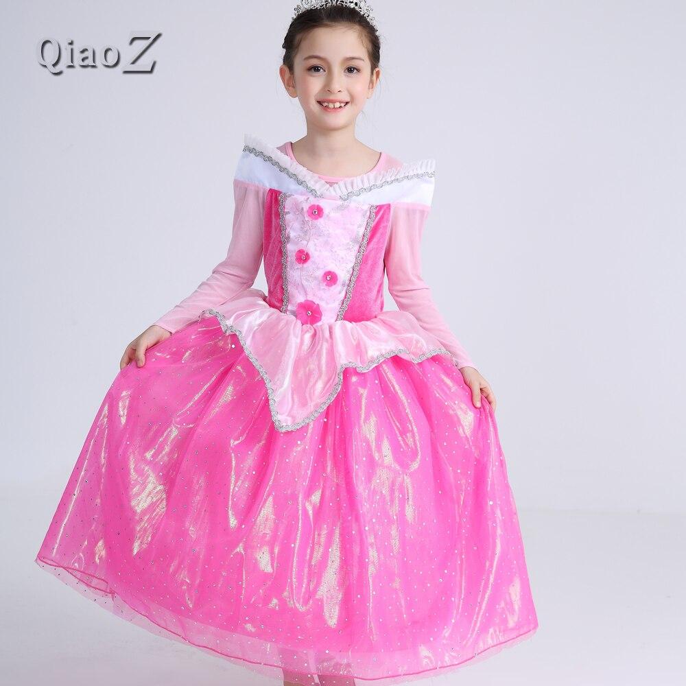 2018 Girl Spring Pink Flower Dress Kids Aurora Princess Sleep Beauty