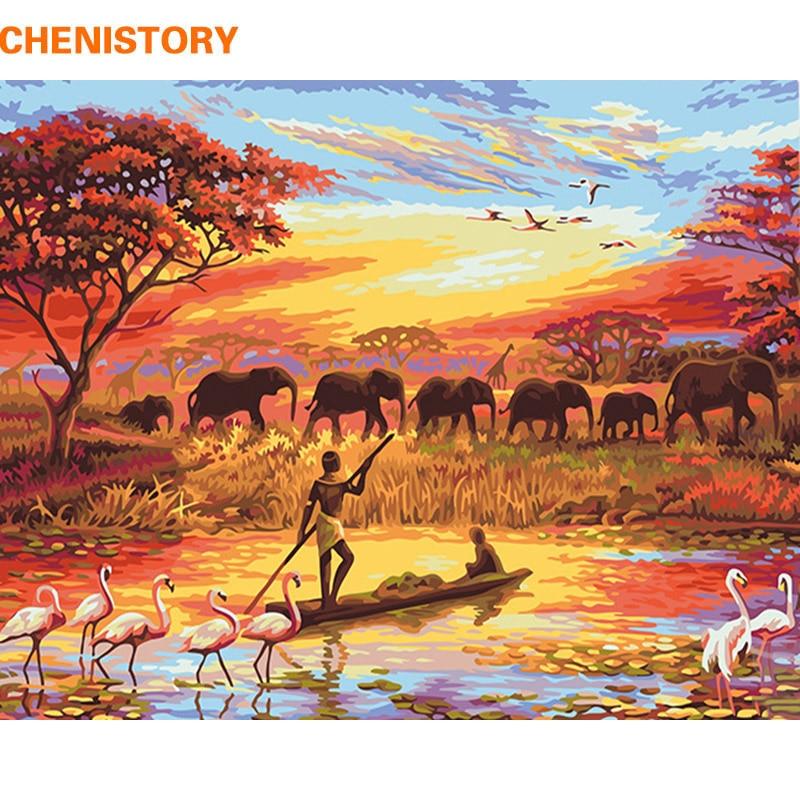 CHENISTORY Elephant Sunset Pittura di Diy Dai Numeri Paesaggio Moderno di Arte Della Parete della Tela di Canapa Pittura Dipinta A Mano Regalo Unico Per La Casa