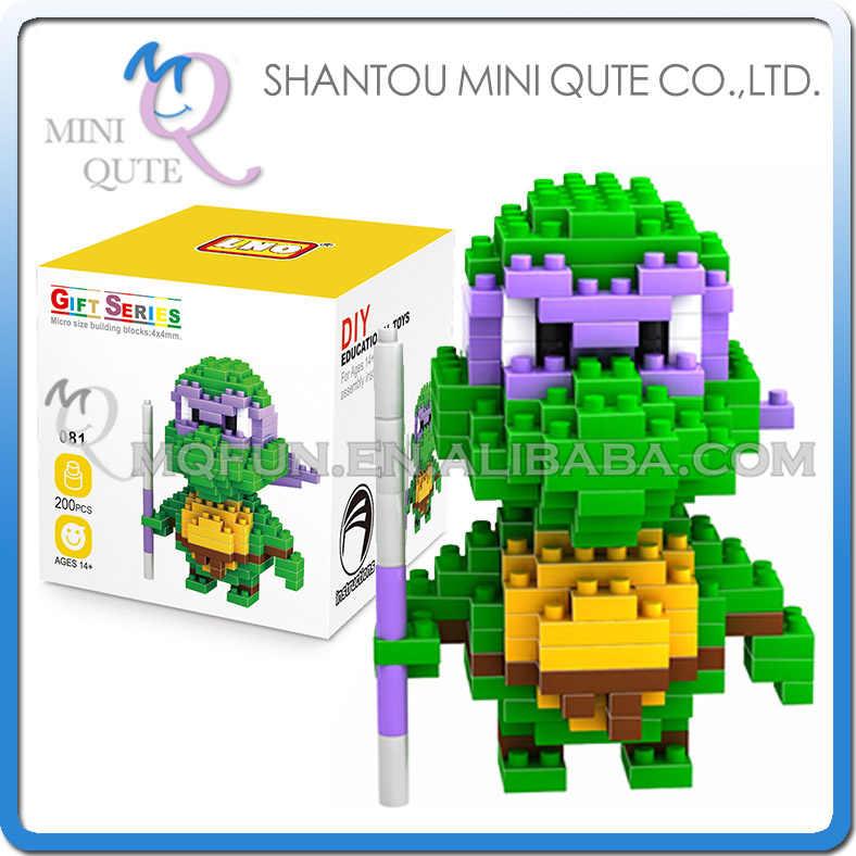 Mini Qute LNO kawaii diamante tartaruga animal dos desenhos animados do anime figuras de ação modelo de plástico blocos de construção tijolos DIY brinquedo educativo