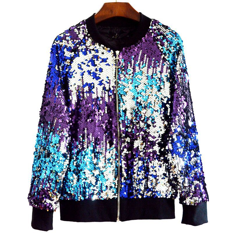 2018 Autumn Women   Basic     Jackets   Sequins Zipper O-neck   Jackets   Long Sleeved Oversize Bomber   Jacket   Z205 chaqueta mujer