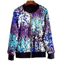 2018 Autumn Women Basic Jackets Sequins Zipper O neck Jackets Long Sleeved Oversize Bomber Jacket Z205 chaqueta mujer