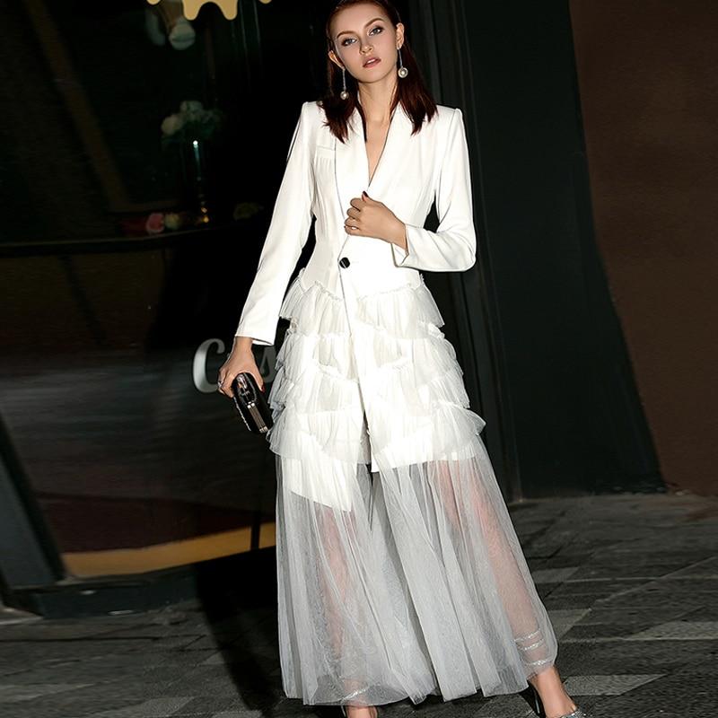 New 2019 Spring Runway Dress Women's Long Sleeve V Neck Blazer Jacket Office Mesh Patchwork Layer Ruffles Tulle Party Long Dress