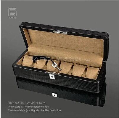 Mode 6-slot structure en bois montre boîte en cuir montre boîte de rangement pour montres organisador montre cadeau boîte SBH010